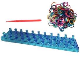 Blauw loombord met loom elastiekjes