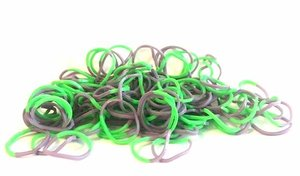 300 Loom bands groen met paars/bruin