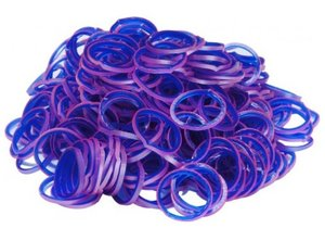 200 Loombands blauw, paars & shiny roze