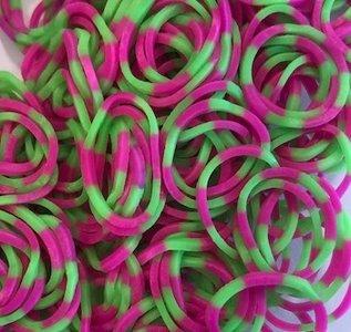 200 Loombandjes roze/groen